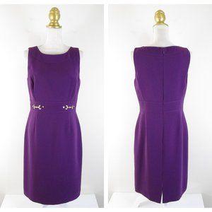 Tahari Solid Purple Sleeveless Sheath Dress 8